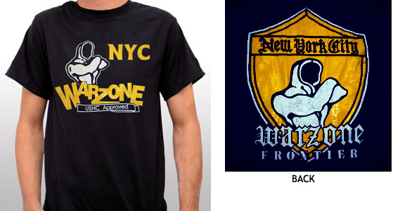 Warzone- Old School on front, Shield on back on a navy shirt