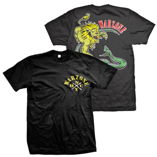 Warzone- NYHC on front, Lion & Snake on back on a black shirt
