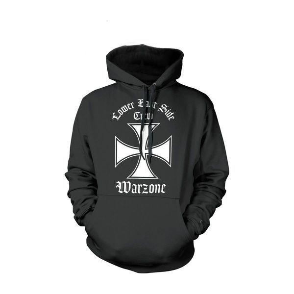 Warzone- Lower East Side on a black hooded sweatshirt