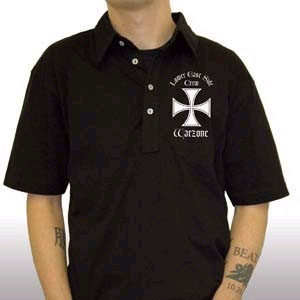 Warzone- Lower East Side on a black polo shirt