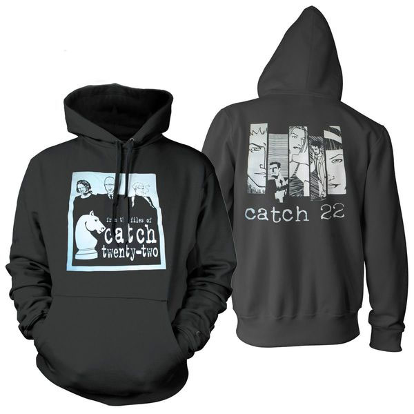 Catch 22- Band Cartoon and Logo on front, Cartoon Faces and Logo on back on a black hooded sweatshirt
