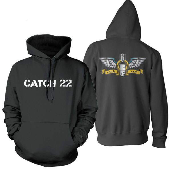 Catch 22- Logo on front, Bomb on back on a black hooded sweatshirt