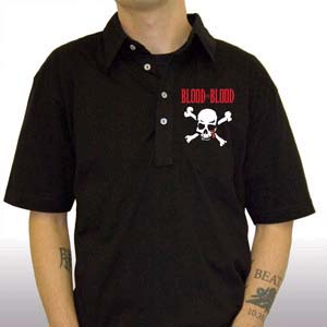 Blood For Blood- Skull And Crossbones on a black polo shirt