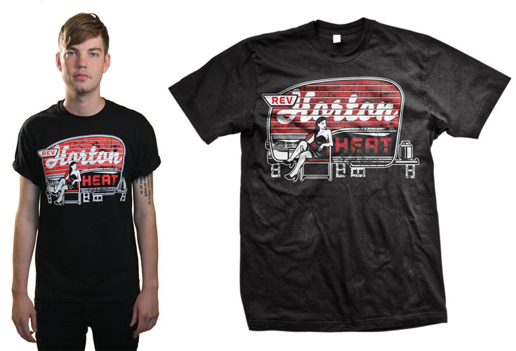 Reverend Horton Heat- Trailer on a black shirt