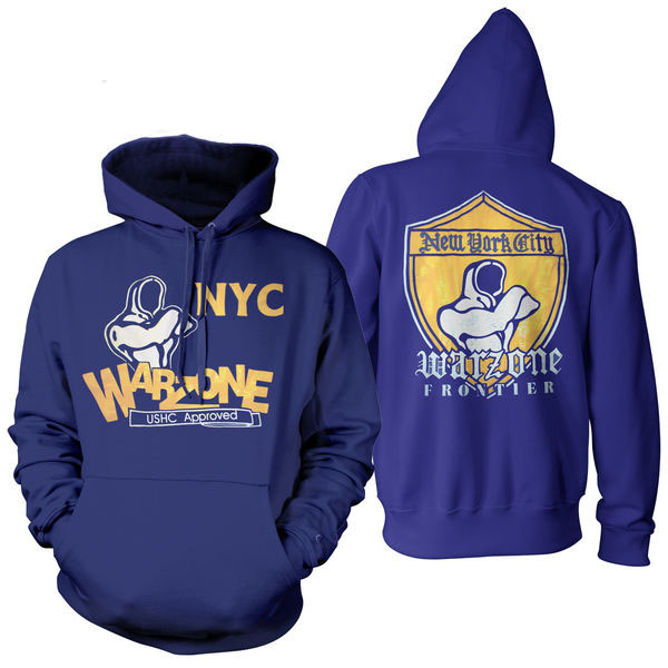 Warzone- Old School on front, Shield on back on a hooded sweatshirt