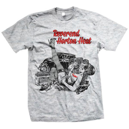Reverend Horton Heat- Smell Of Gasoline on a grey shirt