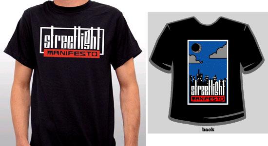 Streetlight Manifesto- Logo on front, City on back on a black shirt