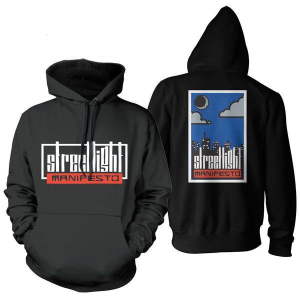 Streetlight Manifesto- Logo on front, City on back on a black hooded sweatshirt