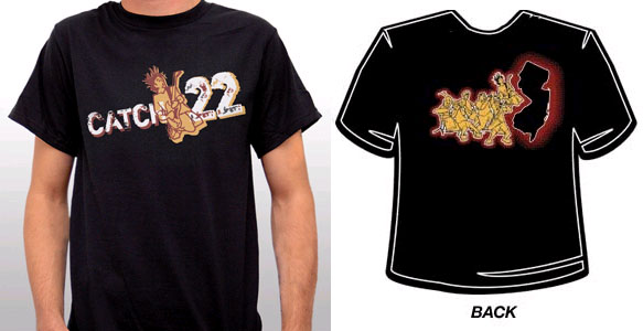 Catch 22- Logo on front, New Jersey on back on a black YOUTH sized shirt