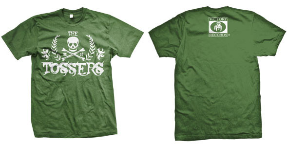 Tossers- Skull Crest on a green YOUTH sized shirt