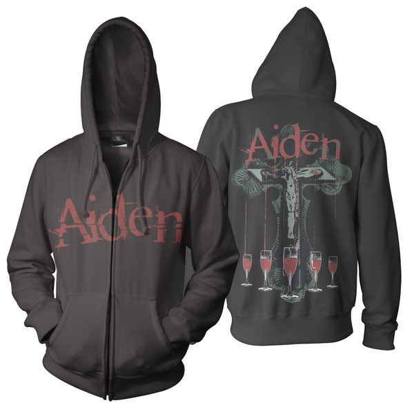 Aiden- Logo on front, Stigmata on back on a black zip up hooded sweatshirt