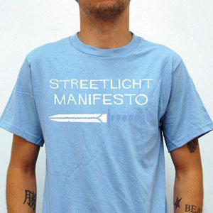 Streetlight Manifesto- Dagger on front, Streetlight on back on a light blue shirt
