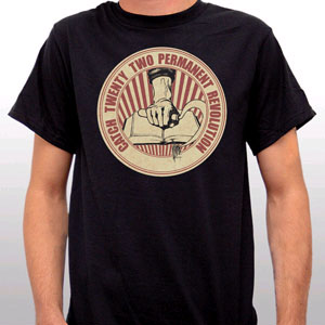 Catch 22- Permanent Revolution on a black YOUTH sized shirt