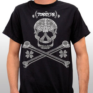Tossers- Celtic Skull And Crossbones on a black shirt