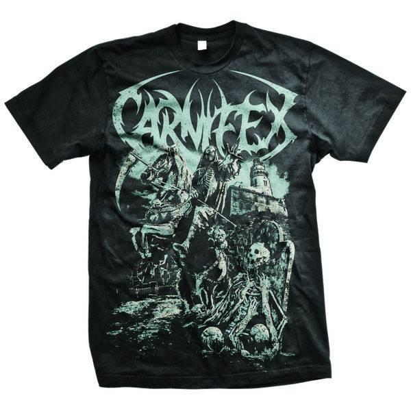 Carniflex- Darkhorse on a black shirt
