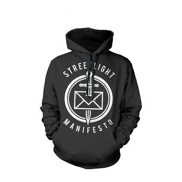 Streetlight Manifesto- Dead Letter Office on a black hooded sweatshirt