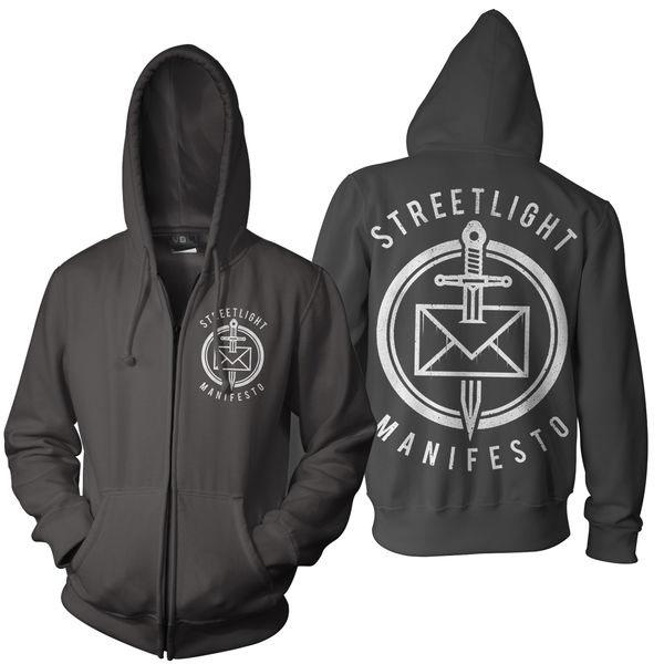 Streetlight Manifesto- Logo on front, Dead Letter Office on back on a black zip up hooded sweatshirt