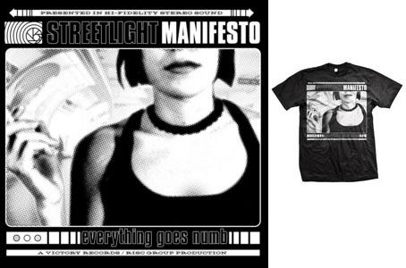 Streetlight Manifesto- Everything Goes Numb on a black shirt