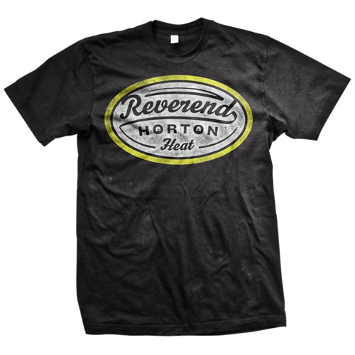 Reverend Horton Heat- Yellow & White Label on a black shirt