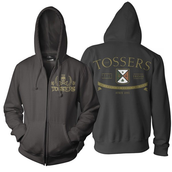 Tossers- Skull on front, Logo on back on a black zip up hooded sweatshirt