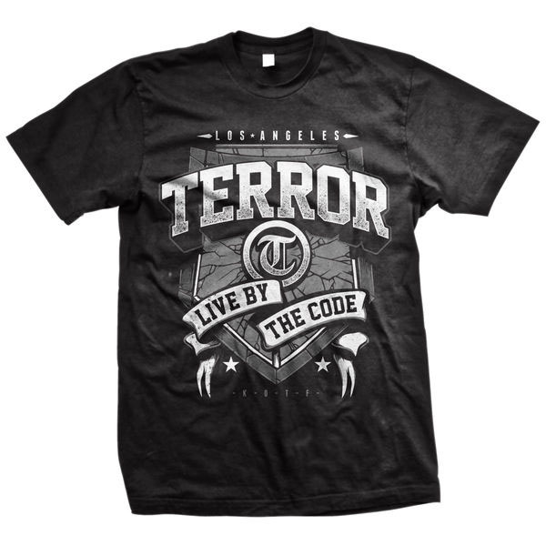 Terror- Live By The Code Banner on a black shirt