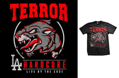 Terror- Hardcore (Panther) on a black shirt