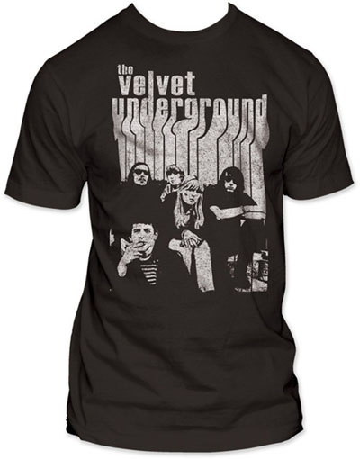 Velvet Underground- Melting Logo & Band Pic on a charcoal ringspun cotton shirt