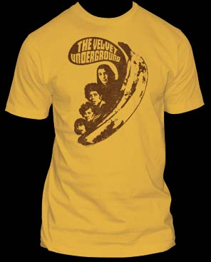 Velvet Underground- Banana & Faces on a mustard ringspun cotton shirt