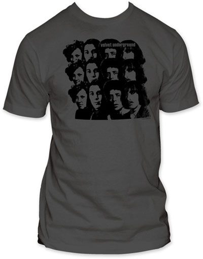 Velvet Underground- Repeating Faces on a grey ringspun cotton shirt (Sale price!)