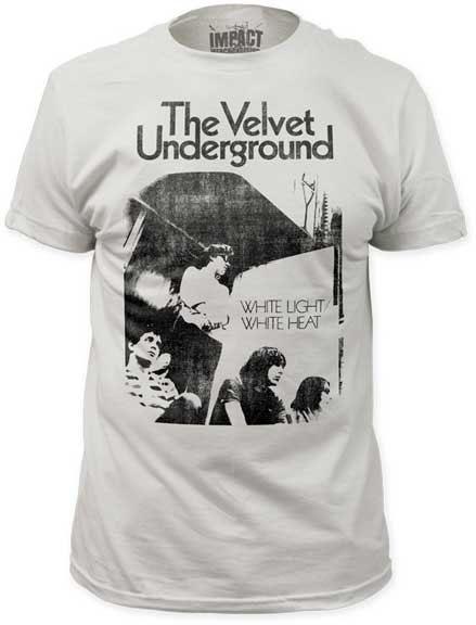 Velvet Underground- White Light White Heat on a vintage white ringspun cotton shirt