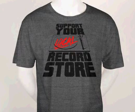 Support Your Local Record Store (Turntable) on a grey ringspun cotton shirt (Record Store Day) (Sale price!)