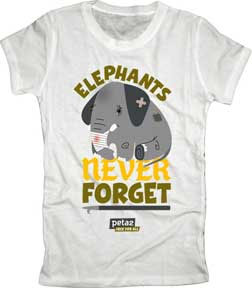 PETA- Elephants Don't Forget on a white girls fitted shirt (Sale price!)