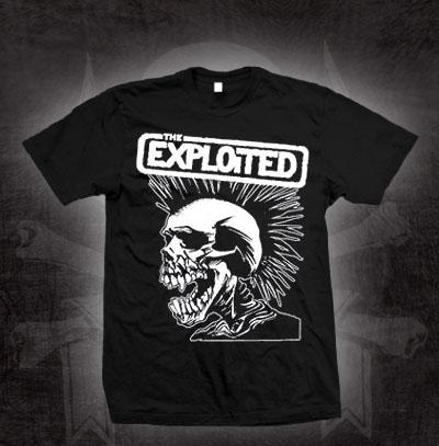 Exploited- White Skull on a black shirt (Sale price!)