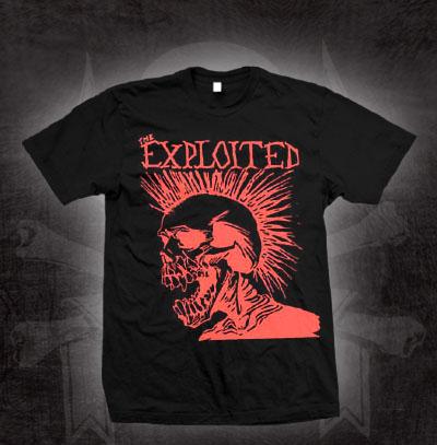 Exploited- Let's Start A War Screaming Skull on a black shirt (Sale price!)