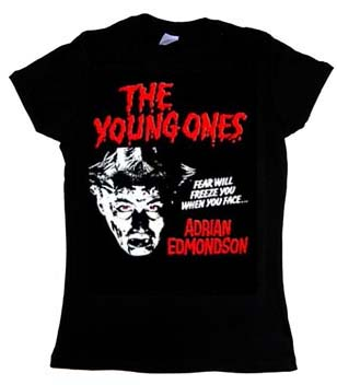 Young Ones- Adrian Edmondson on a black girls fitted shirt