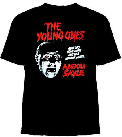 Young Ones- Alexei Sayle on a black shirt
