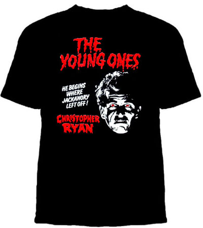 Young Ones- Christopher Ryan on a black shirt