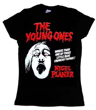 Young Ones- Nigel Planer on a black girls fitted shirt