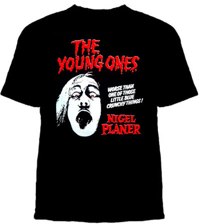 Young Ones- Nigel Planer on a black shirt