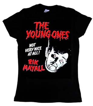 Young Ones- Rik Mayall on a black girls fitted shirt