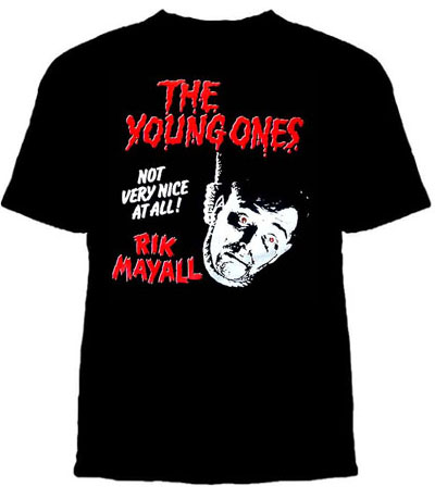 Young Ones- Rik Mayall on a black shirt