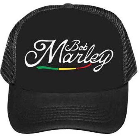 Bob Marley- Logo on a Black Trucker Hat