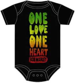 Bob Marley- One Love One Heart on a black onesie