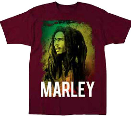 Bob Marley- Picture on a maroon shirt
