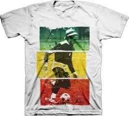 Bob Marley- Rasta Soccer on a white shirt