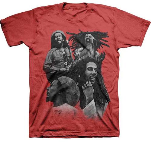 Bob Marley- 4 Pics on a red shirt