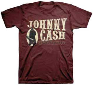 Johnny Cash- The Man In Black on a maroon shirt (Sale price!)
