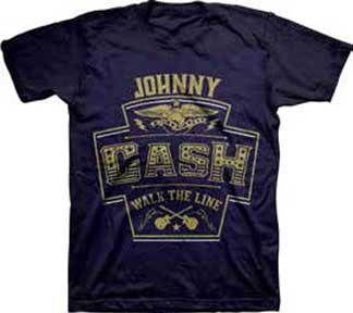 Johnny Cash- Walk The Line on a navy shirt (Sale price!)