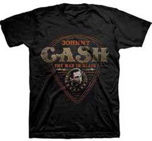 Johnny Cash- The Man In Black (Guitar Pick) on a black shirt (Sale price!)