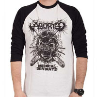 Aborted- Medical Deviants on a White & Black 3/4 Sleeve Shirt (Sale price!)